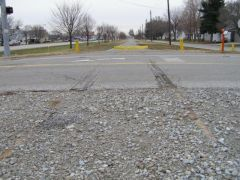 Old US 136: Looking east at the remains of the old Peoria &a