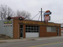 Old US 52/421: Auto glass shop with an actual Indy 500 car o