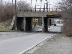 Old US 421: Old railroad overpass above Southeastern Avenue.