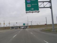 Old US 421 meets US 421: 421 frees itself from I-465 just pa