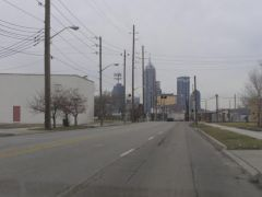 Old US 52/421: Approaching downtown from the southeast.