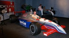 Dave in an IRL race car