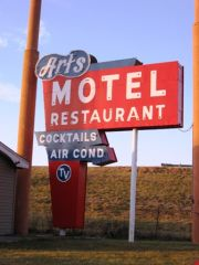The recently restored Art's Motel sign, Farmersville, IL