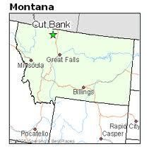 Map on Montana with Cut Bank