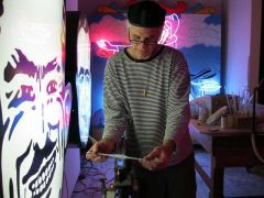 Artist David Svenson Bending Neon tubing