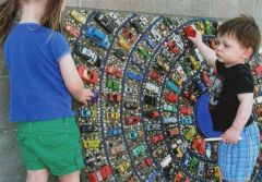 Murals with Matchbox cars.