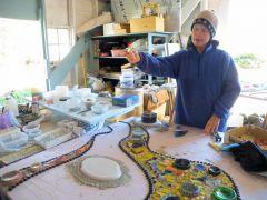 Artist Mri-Pilar choosing designs.