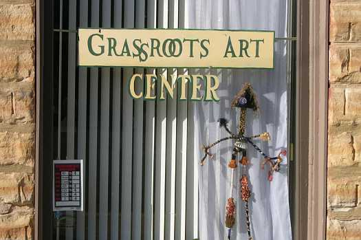 Front door of Grassroots Museum, Lucas, KS