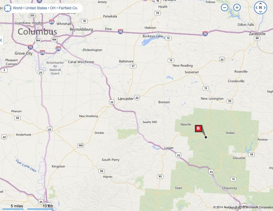 Map Of New Straitsville Ohio in the Hocking Hills