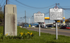 Three historical markers in one shot along route US-11E, at the Tipton-Haynes Historic site, Johnson City, TN