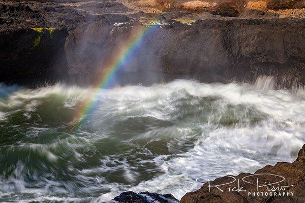 Cape Perpetua Rainbow and Churning Waters