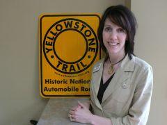 Andrea Jorgenson And Yellowstone Trail Road Marker