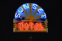 Sunset Motel Sign At Night
