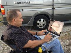 Mike working on his next Roadtreking Blogpost,