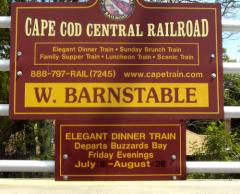 Cape Cod Central Railroad sign at W. Barnstable, MA