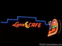 Restored signs at the Luna Cafe on Route 66 in Mitchell, IL